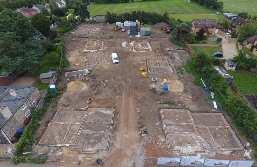 Aerial view of School Close in Tuddenham